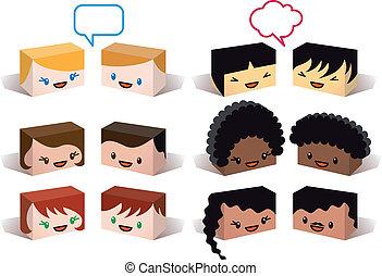 avatars, vecteur, diversité