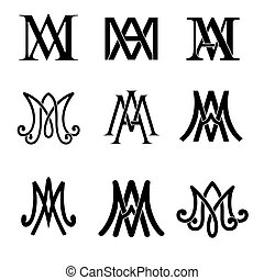 ave, set., maria, catholique, monogram, symboles, religieux, signs.
