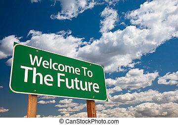 avenir, accueil, vert, panneaux signalisations