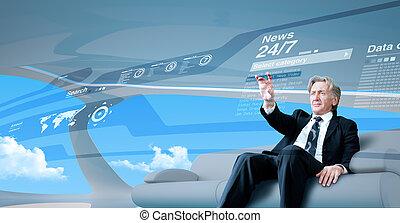 avenir, naviguer, nouvelles, interface, homme affaires, personne agee