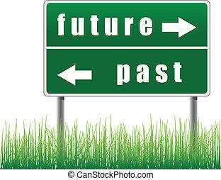 avenir, panneau de signalisation, past.
