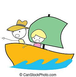 aventure, bateau, gosse