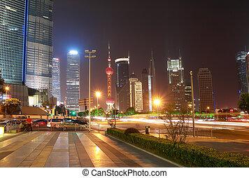 avenue, rue, china., scène, siècle, shanghai