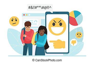 aversion, dessin animé, messages, adolescent, cyber, triste, intimider, entouré, ligne, bulles, plat, girl, intimidé, vecteur, garçon, gens, haine, illustration, message