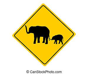 avertissement, éléphants, signe