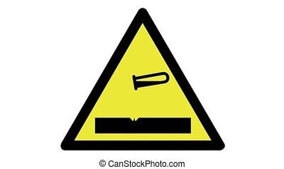avertissement, animé, signe, corrosif