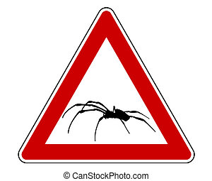 avertissement, araignés, signe