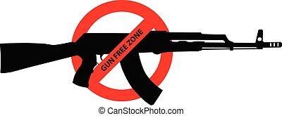 avertissement, contrôle fusil, signe