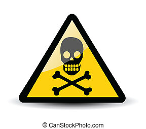 avertissement, crâne, signe
