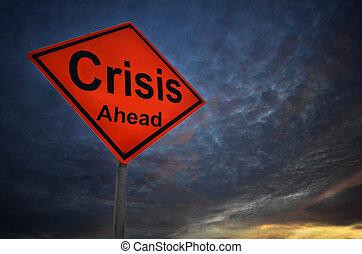 avertissement, crise, panneaux signalisations