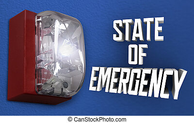 avertissement, déclaration, reveil, cadre, ordre, urgence, 3d, illustration, état, crise