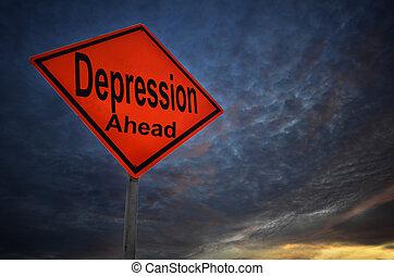 avertissement, dépression, panneaux signalisations