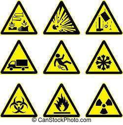 avertissement, ensemble, 4, signes