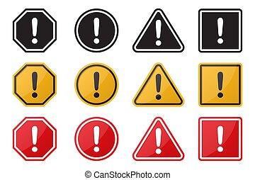 avertissement, ensemble, illustration, attention, signe., vecteur, danger