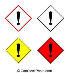 avertissement, ensemble, signe