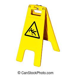 avertissement, glissant, isolé, signe, plancher