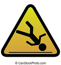 avertissement, glissant, signe