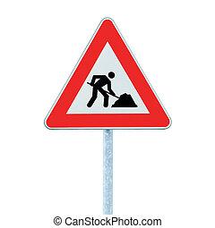 avertissement, isolé, panneaux signalisations, poteau, travaux, devant