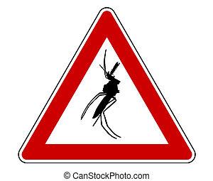 avertissement, moustique, signe