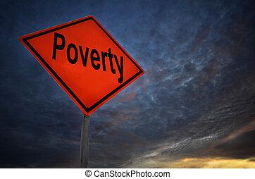 avertissement, pauvreté, panneaux signalisations