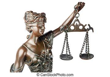 aveugle, godness, équilibre, elle, main, justice, symbole, isolé, themis, grec, closeup, backgroung, tenue, blanc, mythologic, sculpture, vide