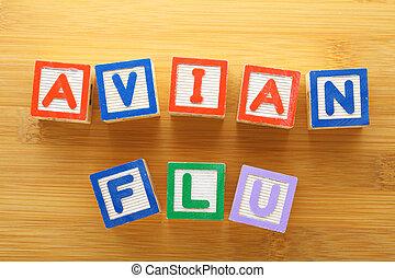 avian, jouet, grippe, bloc