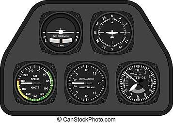 aviation, avion, planeur, tableau bord