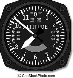 aviation, avion, vecteur, altimètre