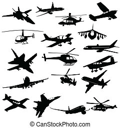 aviation, silhouette