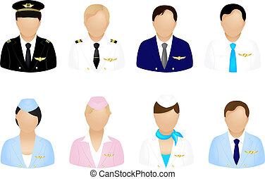 avion, équipage, icônes