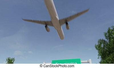 avion, arrivant, tegucigalpa, voyager, animation, honduras, conceptuel, aéroport., 4k
