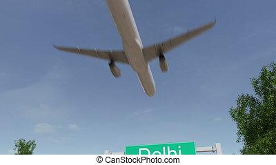 avion, arrivant, voyager, animation, inde, conceptuel, delhi, aéroport., 4k