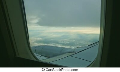 avion, au-dessus, acier, par, aérien, grand, vue, moteur, jet, mouche, nuages blancs, fenêtre