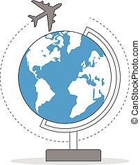 avion, autour de, globe
