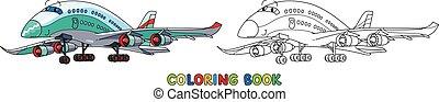 avion, avion ligne, rigolote, eyes., livre coloration