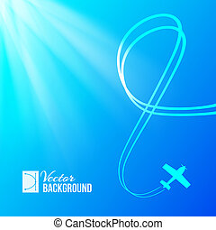 avion bleu, fond