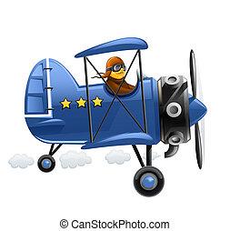 avion bleu, pilote
