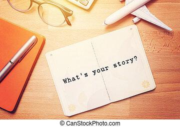 avion, bois, page texte, cahier, ton, story?, vide, fond, est, modèle, lunettes
