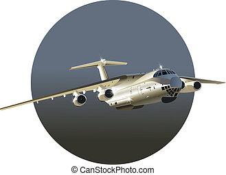 avion cargaison, vecteur, art, jet