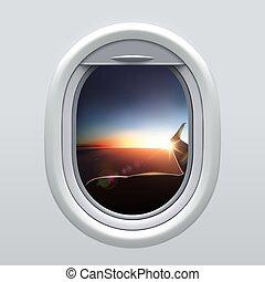 avion, ciel, fenêtre, wing., vue