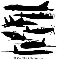 avion, combat, collection, différent, silhouettes.