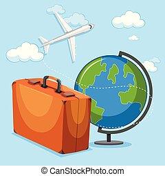 avion, concept, globe, bagage