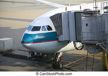 avion, déchargement, passagers
