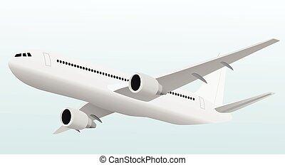 avion, fermé, ou, prendre, atterrissage