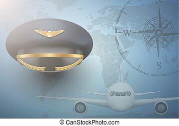 avion, fond, civil, pilote, aviation