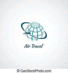 avion, globe, icône