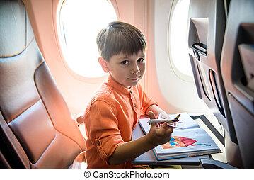 avion., gosse, garçon, flight., voyage, avion, pendant, gosses, charmer, fenêtre, séance, joyeux, voyager, peu, air