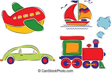 avion, ?hild, train, vecteur, voiture, dessiné, bateau, a