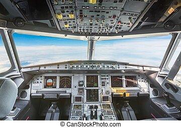 avion, intérieur, civil, poste pilotage, avion