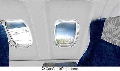 avion, jet, cabine